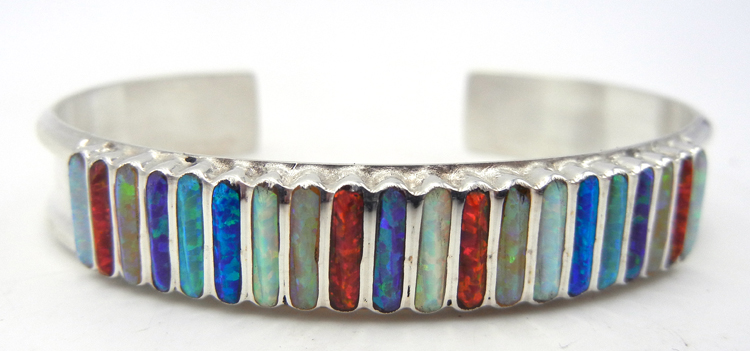 Zuni multi-color lab opal inlay and sterling silver cuff bracelet