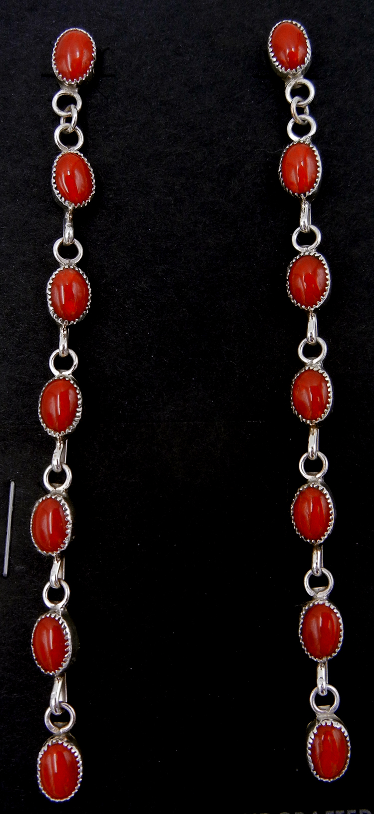Zuni seven stone coral and sterling silver dangle earrings