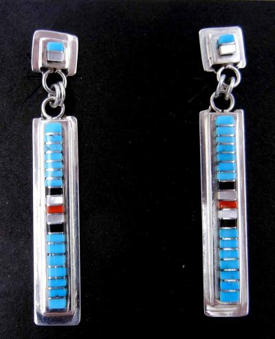 Zuni multi-stone inlay and sterling silver channel inlay dangle earrings