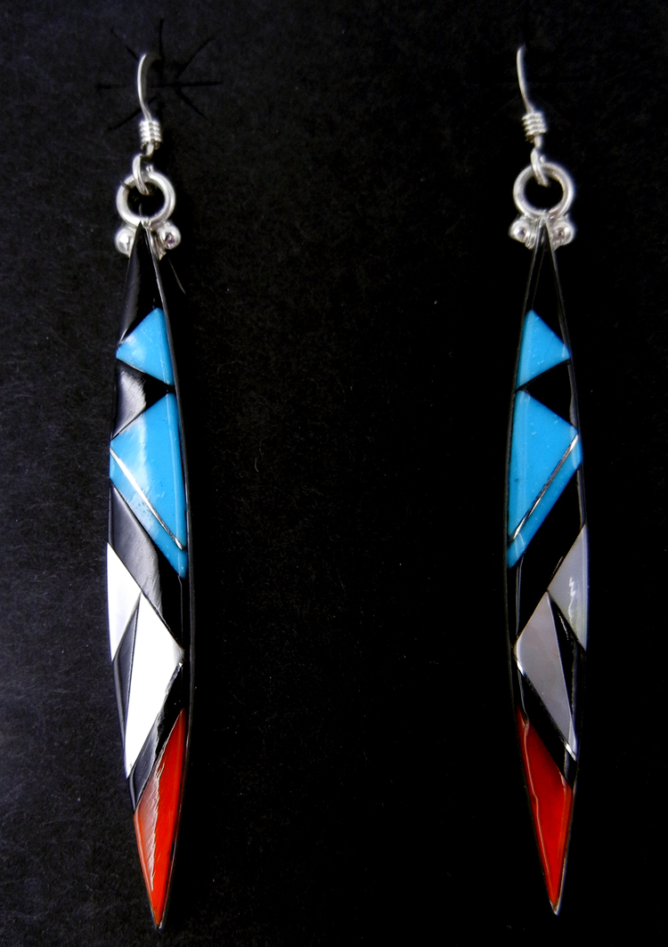 Zuni multi-stone inlay and sterling silver elongated diamond shaped dangle earrings