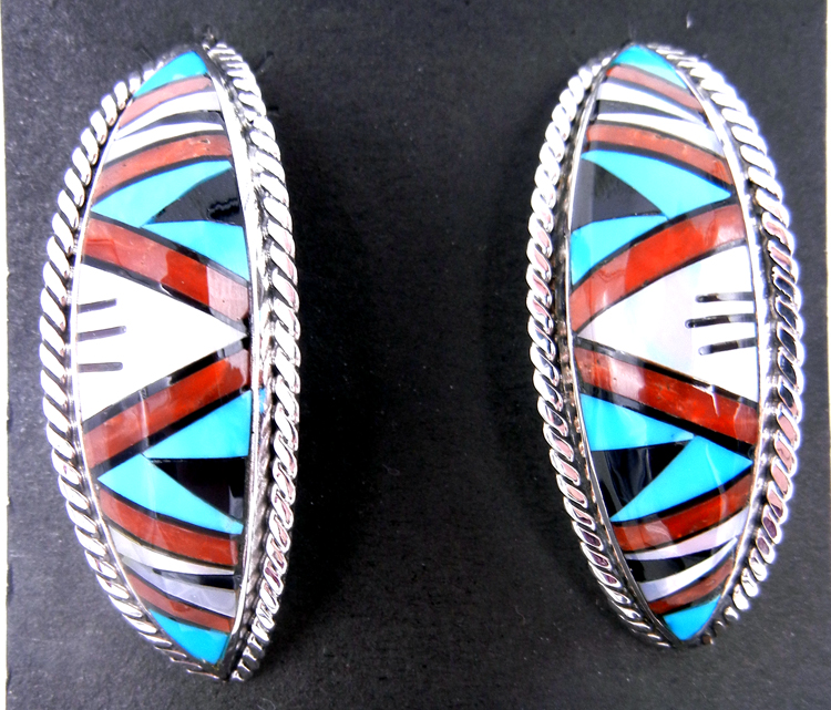 Zuni multi-stone inlay and sterling silver demi-hoop earrings