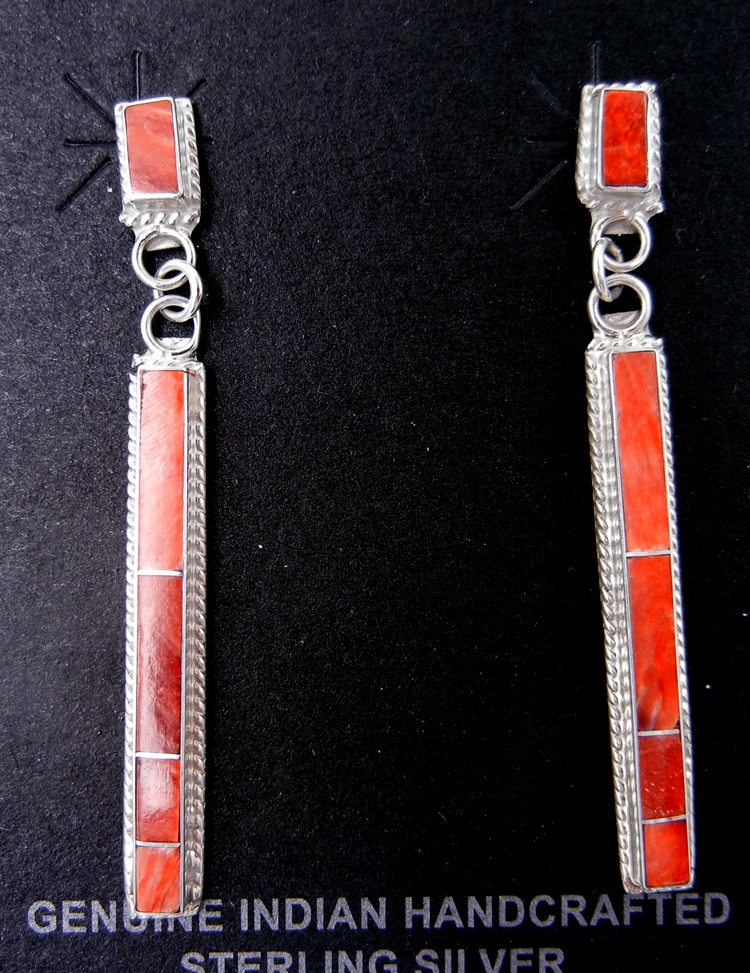 Zuni red spiny oyster shell and sterling silver channel inlay dangle earrings