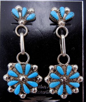 Zuni small turquoise and sterling silver rosette dangle earrings