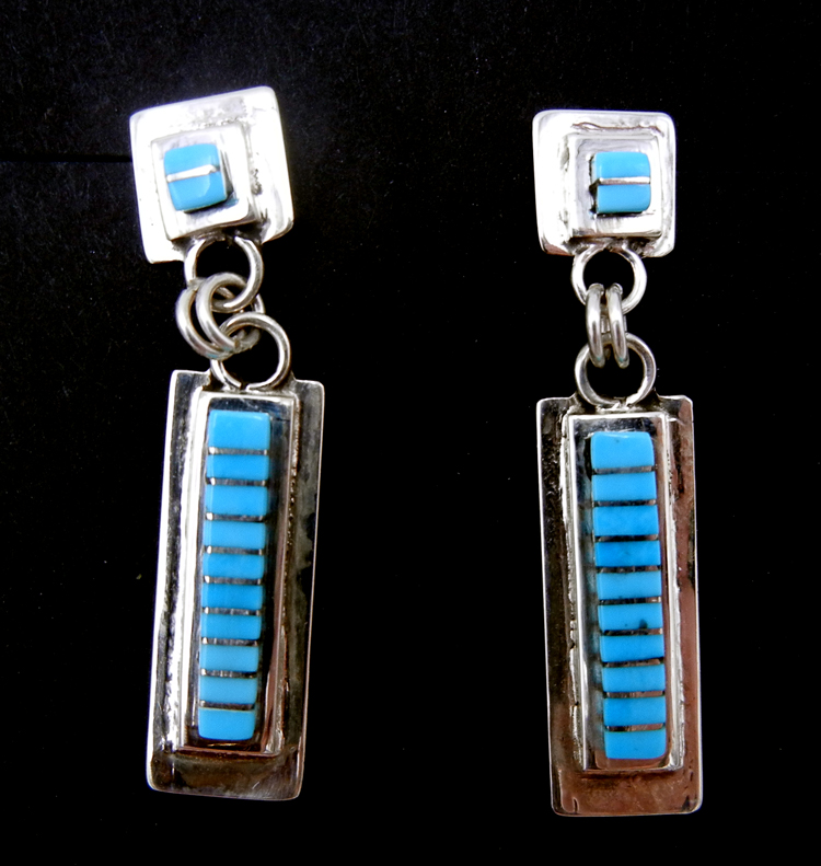 Zuni turquoise and sterling silver channel inlay dangle earrings