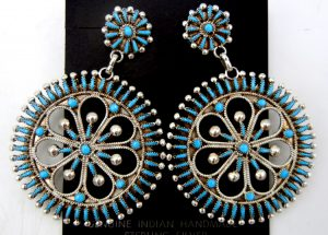 Zuni turquoise needlepoint and sterling silver circular dangle earrings