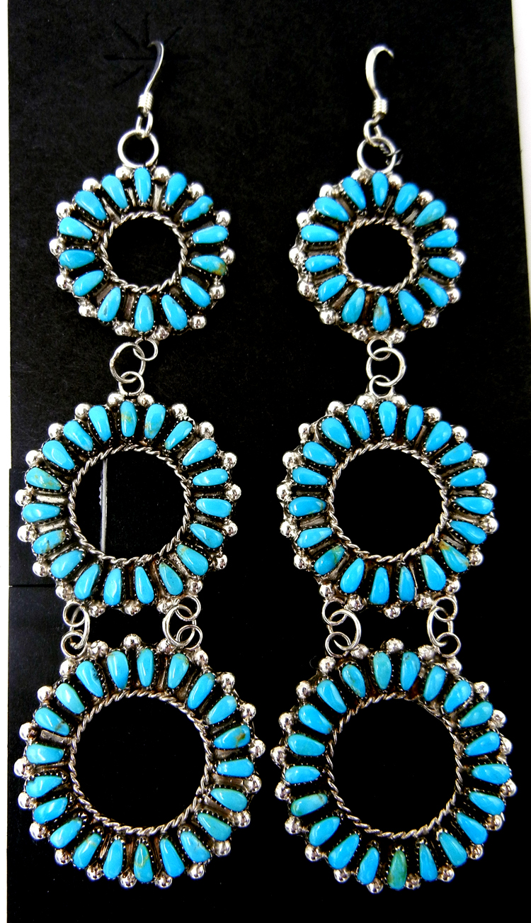 Zuni large turquoise and sterling silver triple circle dangle earrings