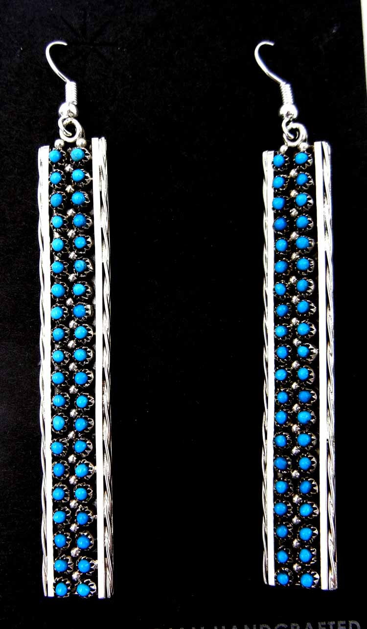 Zuni large Sleeping Beauty turquoise and sterling silver snake eye dangle earrings