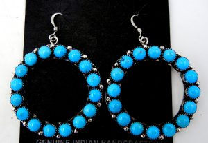 Zuni turquoise and sterling silver circle dangle earrings