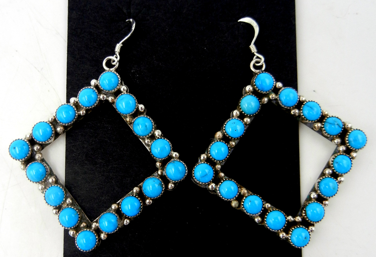 Navajo turquoise and sterling silver large diamond shaped dangle earrings