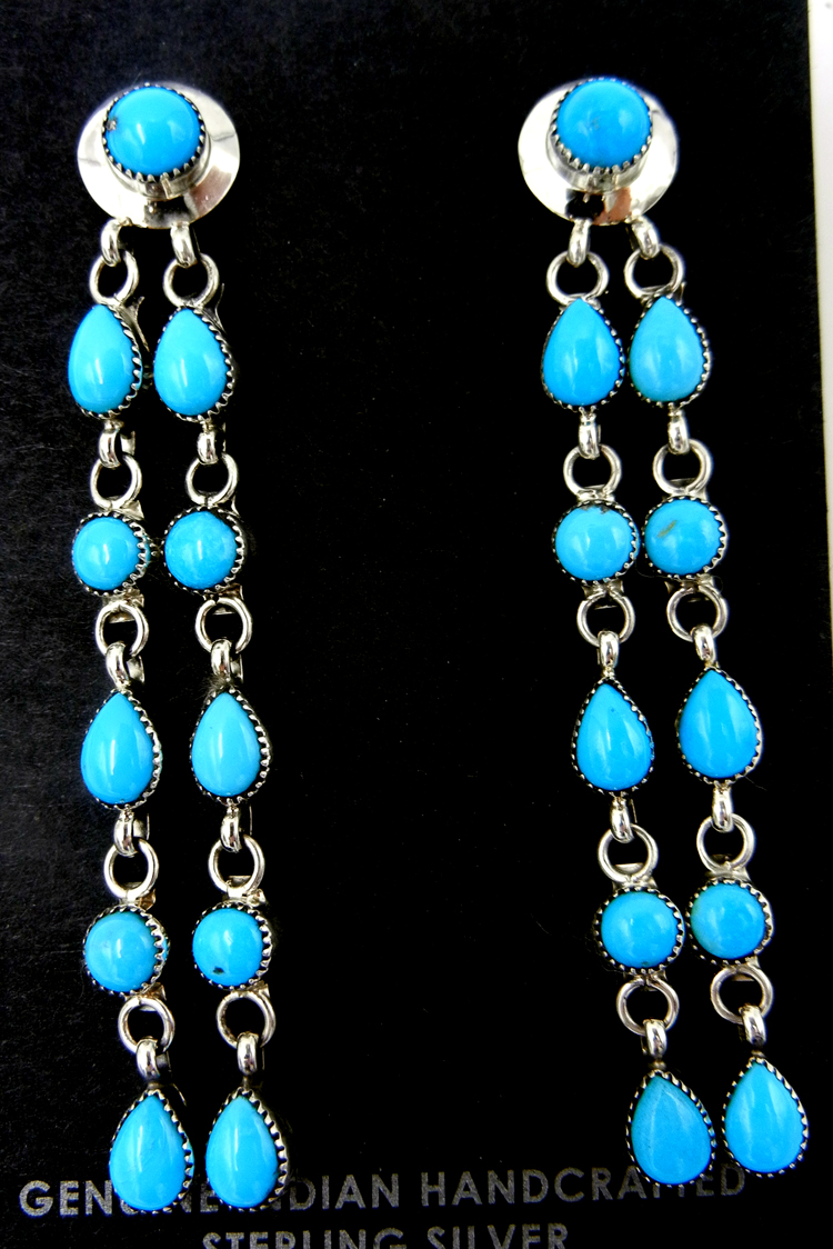Zuni turquoise and sterling silver double dangle earrings