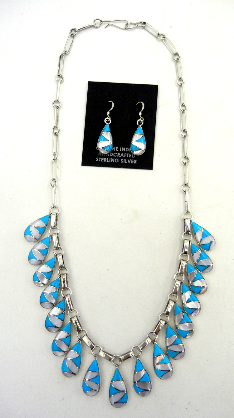 Zuni turquoise, white mother of pearl, and sterling silver inlay necklace and earring set by Orlinda Natewa