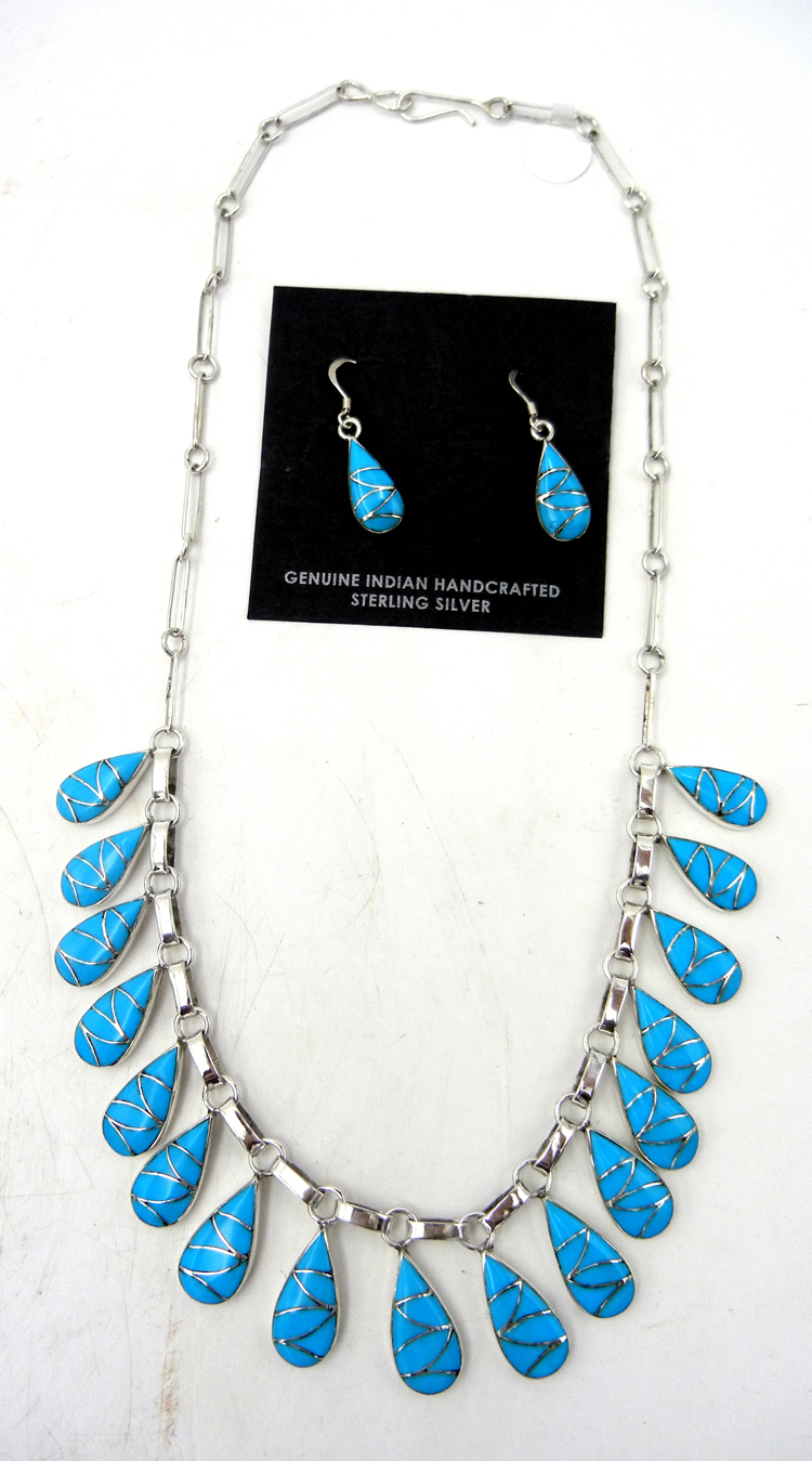 Zuni Sleeping Beauty turquoise and sterling silver inlay necklace and earring set by Orlinda Natewa
