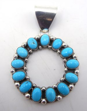 Zuni turquoise and sterling silver circle pendant