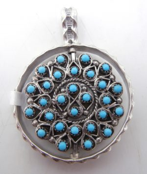Zuni turquoise, coral, and sterling silver petit point cluster spinner pendant