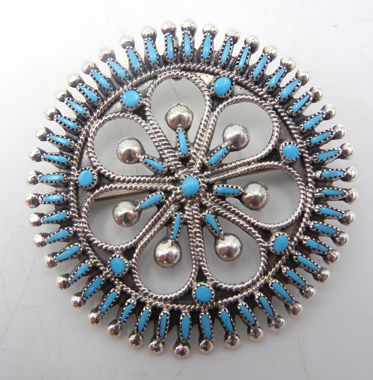 Zuni turquoise needlepoint and sterling silver circle pin/pendant