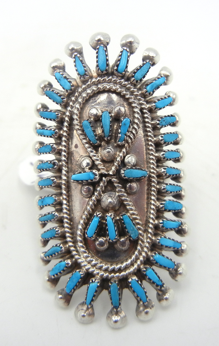Zuni turquoise needlepoint and sterling silver ring