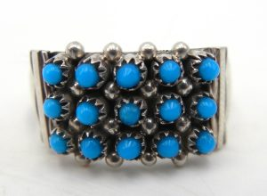 Zuni turquoise snake eye and sterling silver ring
