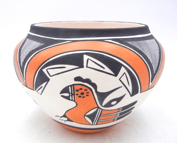 Acoma handmadde polychrome parrot design jar by Beverly Garcia