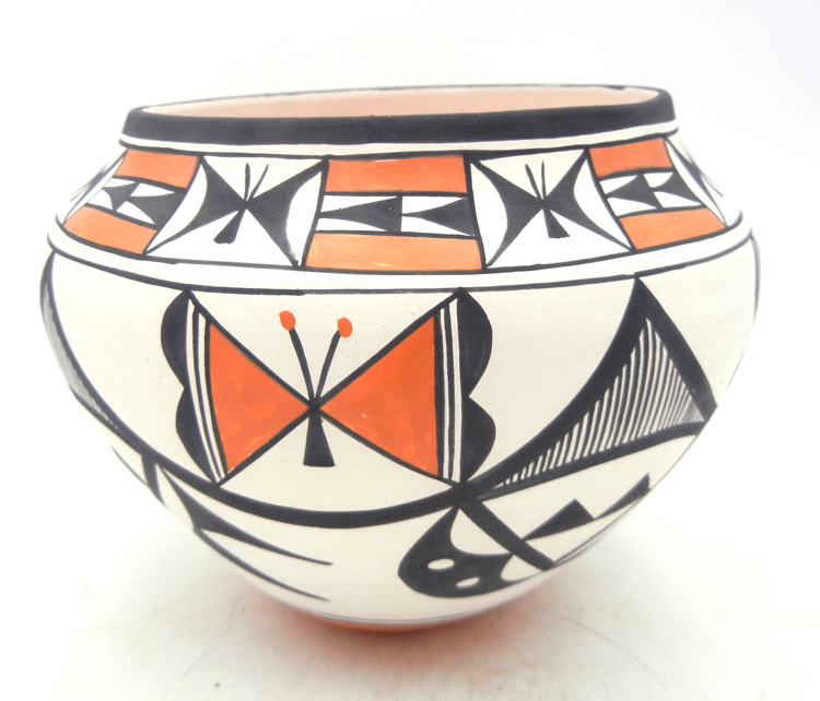 Acoma handmade and hand painted polychrome butterfly and weather pattern jar by Beverly Garcia