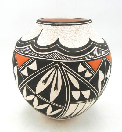 Acoma handmade and hand painted polychrome jar with corrugated rim by Earlene Antonio
