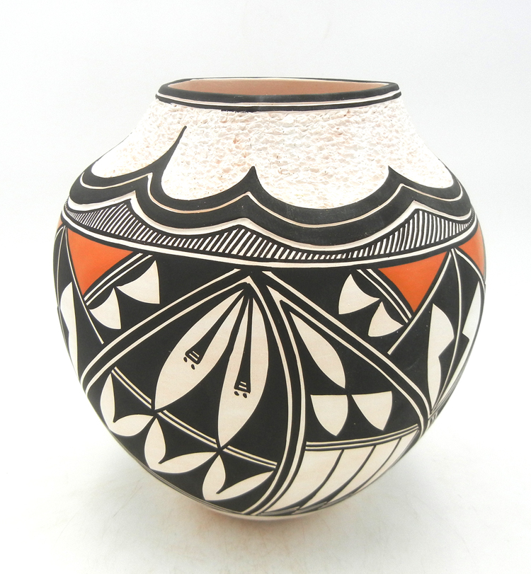 Acoma handmade and hand painted polychrome jar with corrugated rim by Earlene Antonio