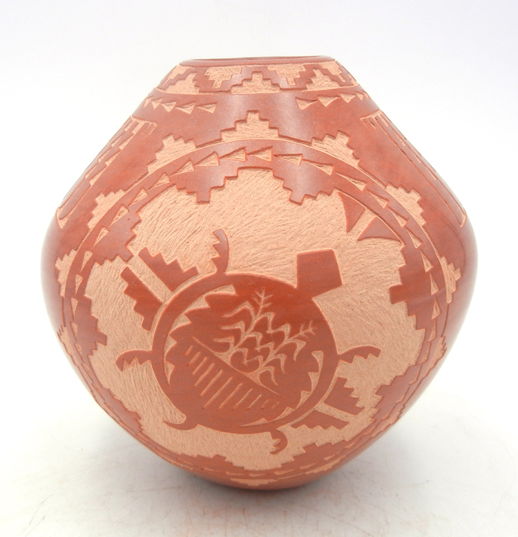 Jemez handmade red etched and polished multi-design jar by Alvina Yepa