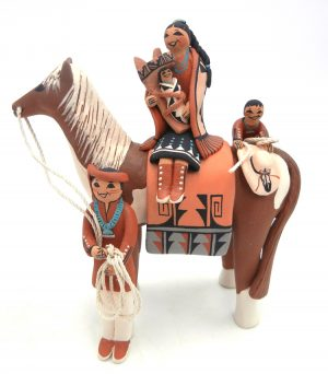 Jemez horse figurine with seated woman and three children by Carol Lucero Gachupin