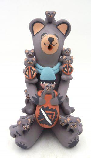 Jemez seated bear storyteller figurine with twelve cubs by Vernida Toya