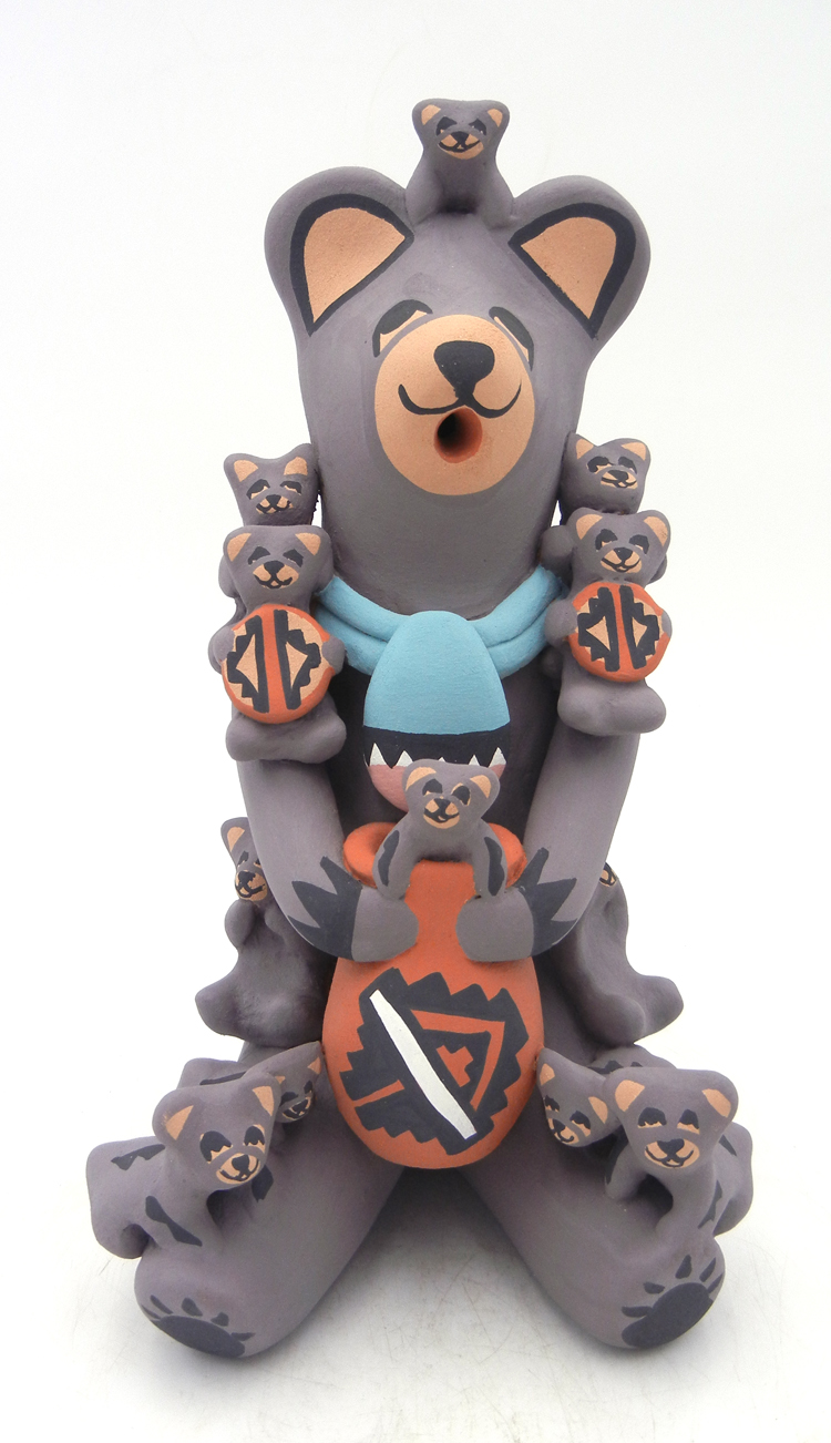 Jemez seated bear storyteller figurine with twelve cubs by Vernida Toya
