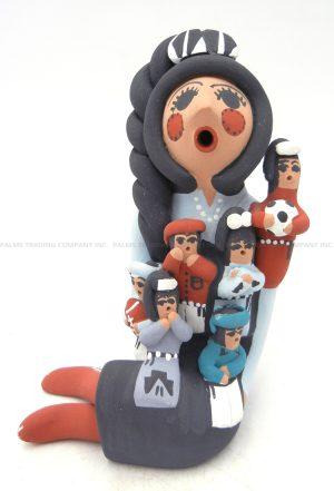 Jemez seated storyteller with six children by Cheryl Fragua