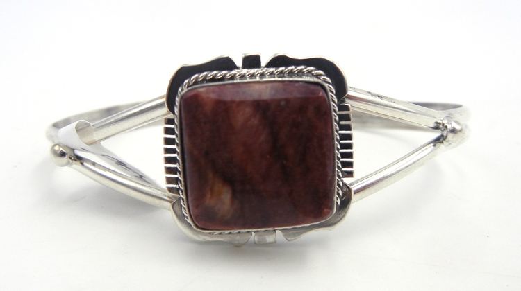 Navajo purple spiny oyster shell and sterling silver cuff bracelet