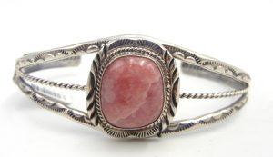 Navajo rhodocrosite and sterling silver cuff bracelet