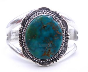 Navajo Royston turquoise and sterling silver cuff bracelet by Will Denetdale