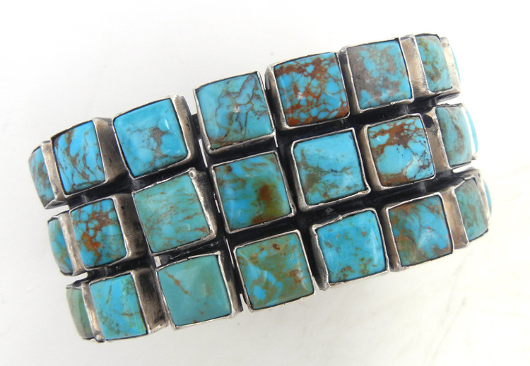 Navajo large Kingman turquoise and sterling silver triple row cuff bracelet