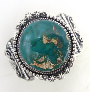 Navajo green Stone Mountain turquoise and sterling silver cuff bracelet by Will Denetdale