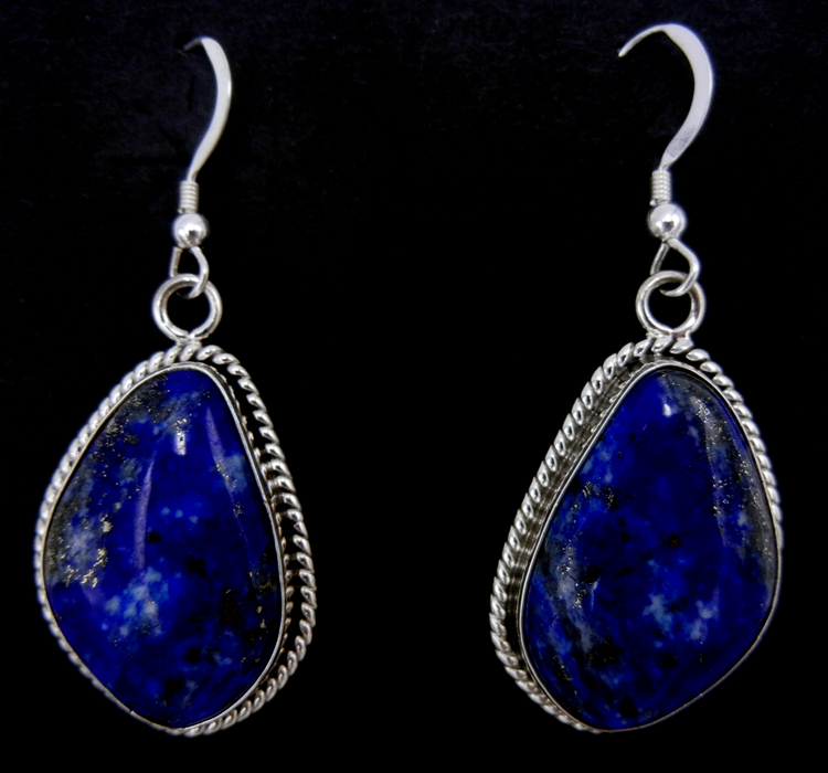 Navajo lapis and sterling silver dangle earrings by Elouise Kee