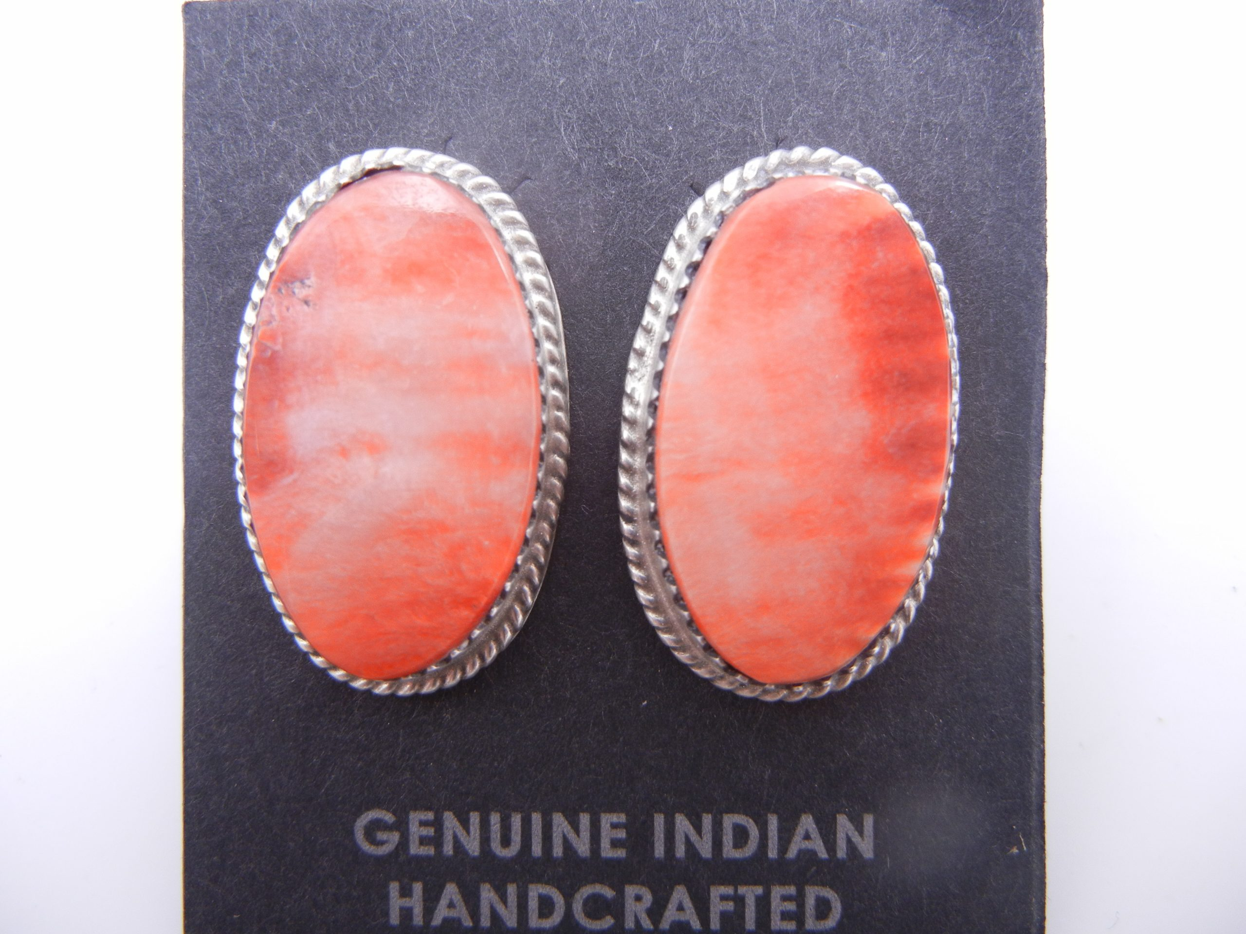 Navajo red spiny oyser and sterling silver oval post earrings by Selina Warner