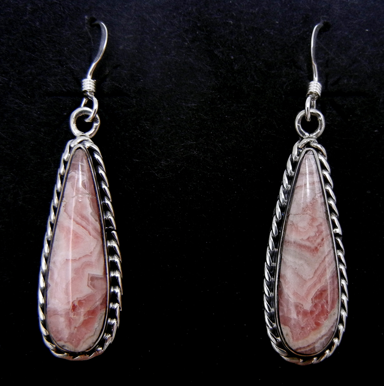 Navajo tear drop shaped rhodocrosite and sterling silver dangle earrings