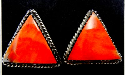 Navajo orange spiny oyster shell and sterling silver triangle post earrings by Selina Warner