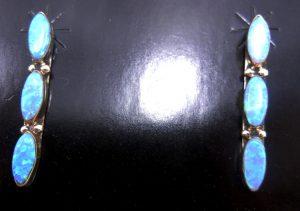 Navajo triple lab opal and sterling silver earrings