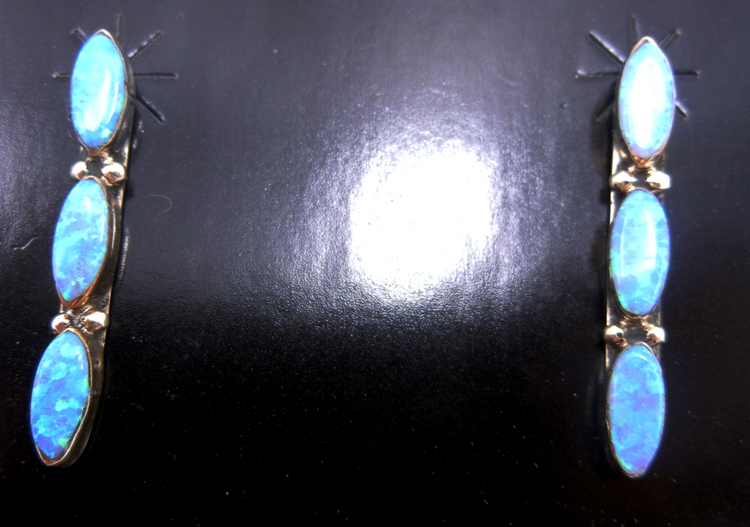 Navajo triple lab opal and sterling silver earrings