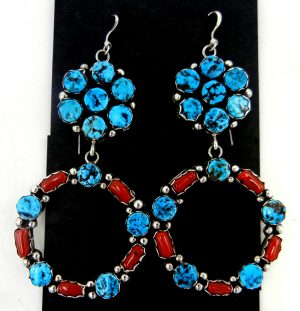 Navajo turquoise coral and sterling silver cluster circle dangle earrings