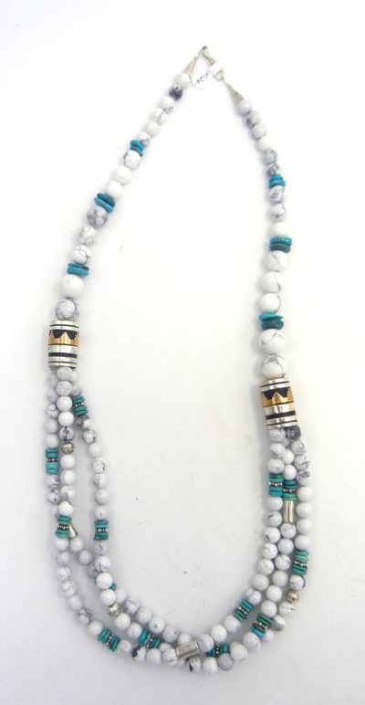 Navajo howlite, turquoise, sterling silver and gold fill necklace by Rosita Singer