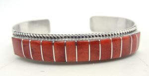 Zuni red spiny oyster shell and sterling silver channel inlay cuff bracelet