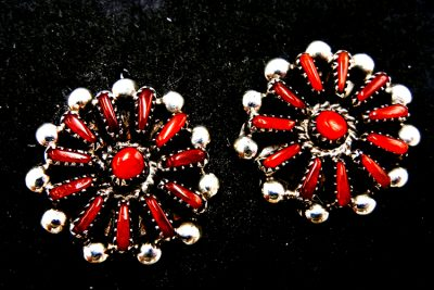 Zuni small coral and sterling silver coral needlepoint cluster earrings