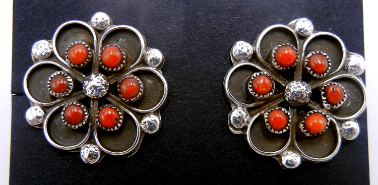 Zuni coral petit point and sterling silver flower pattern post earrings