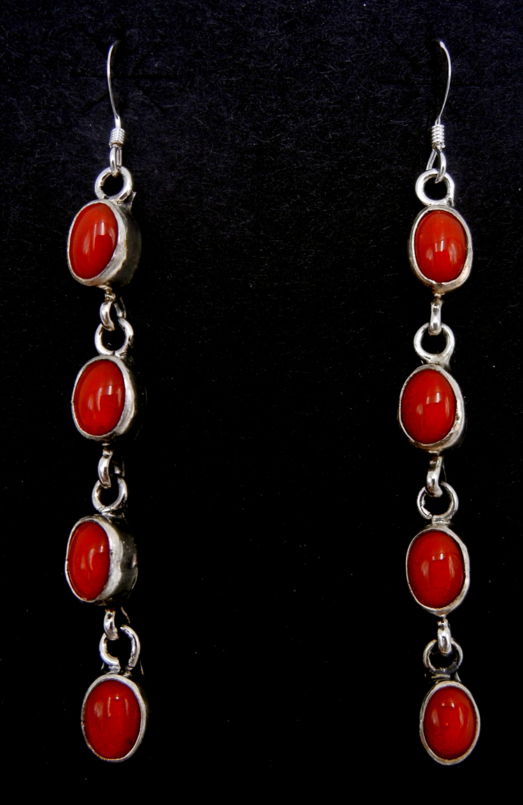 Zuni four stone coral and sterling silver dangle earrings