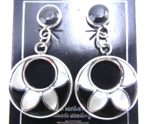Zuni jet, white mother of pearl, and sterling silver inlay dangle cut out earrings