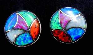 Zuni multi-colored lab opal and sterling silver inlay post earrings