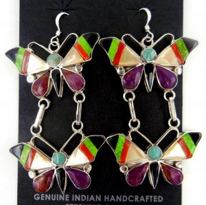 Zuni multi-stone and sterling silver inlay double butterfly dangle earrings by Angus Ahiyite